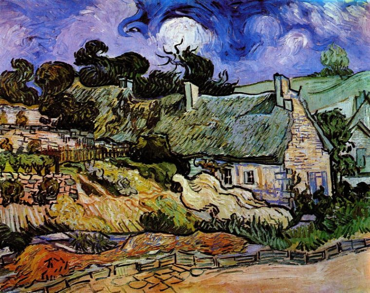 Vincent van Gogh-Houses with Thatched Roofs, Cordeville 1890.jpg